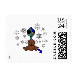 Blue and Green Squite (Pocket Griffon) Snowflakes Postage Stamp