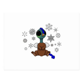 Blue and Green Squite (Pocket Griffon) Snowflakes Postcard