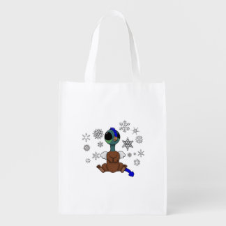 Blue and Green Squite (Pocket Griffon) Snowflakes Reusable Grocery Bag