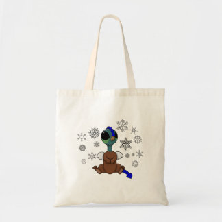 Blue and Green Squite (Pocket Griffon) Snowflakes Tote Bag