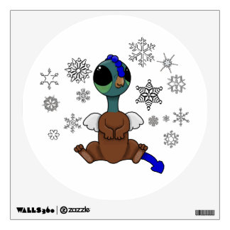 Blue and Green Squite (Pocket Griffon) Snowflakes Wall Decal