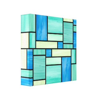 Blue and Green Stained Glass (12x12) Canvas