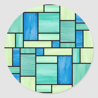 Blue and Green Stained Glass Stickers