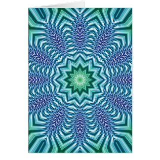 Blue And Green Star Flower Card