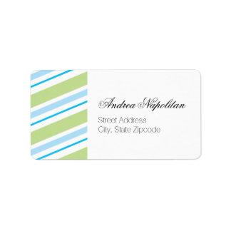 Blue and Green Stripe | Return Address Label