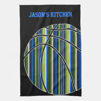 Blue and Green Striped Basketball Design on Black Towel