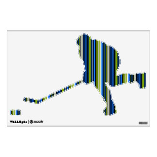 Blue and Green Striped Hockey Player Wall Decal