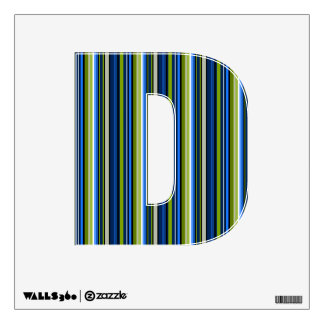 Blue and Green Striped Letter D Wall Decal