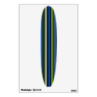 Blue and Green Striped Long Board Wall Decal