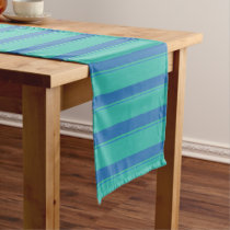 Blue and Green Striped Pattern Short Table Runner
