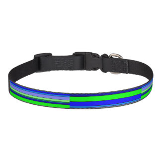 Blue and Green Striped Pet Collar