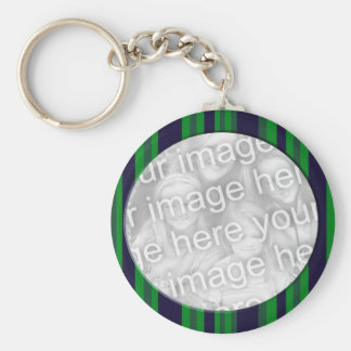 Blue and green striped photo frame keychain