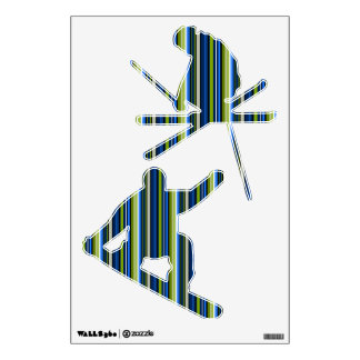 Blue and Green Striped Skier & Snowboarder W Decal Room Stickers