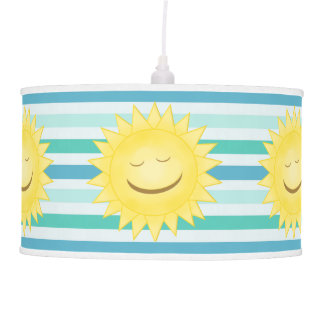 Blue and Green Stripes and Smiley Sun Lamp