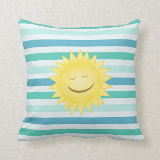 Blue And Green Stripes and Smiley Sun Pillow
