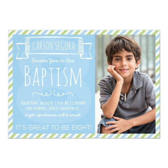 Blue And Green Stripes LDS Baptism Announcement