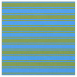 [ Thumbnail: Blue and Green Stripes/Lines Pattern Fabric ]