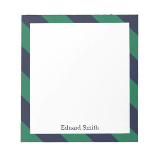 Blue and Green Stripes Personalized Notepad