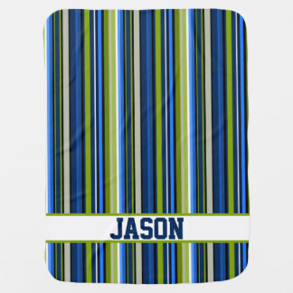 Blue and Green Stripes with Varsity Style Letters Receiving Blanket