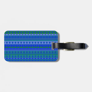 Blue and Green Stripy Stars and Spots Pattern Bag Tag