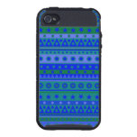 Blue and Green Stripy Stars and Spots Pattern iPhone 4/4S Cover