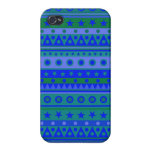 Blue and Green Stripy Stars and Spots Pattern iPhone 4/4S Cases