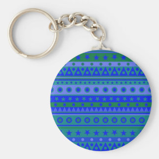 Blue and Green Stripy Stars and Spots Pattern Keychain