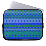 Blue and Green Stripy Stars and Spots Pattern Laptop Computer Sleeve