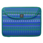 Blue and Green Stripy Stars and Spots Pattern MacBook Pro Sleeve