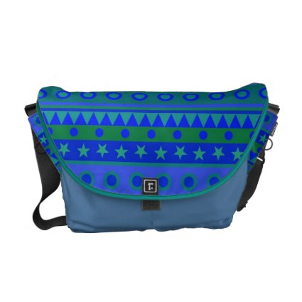 Blue and Green Stripy Stars and Spots Pattern Courier Bag