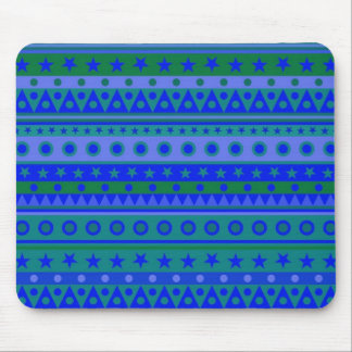 Blue and Green Stripy Stars and Spots Pattern Mouse Pads