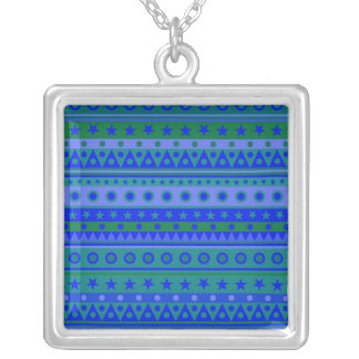 Blue and Green Stripy Stars and Spots Pattern Jewelry