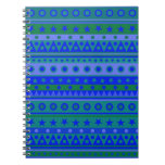 Blue and Green Stripy Stars and Spots Pattern Notebook