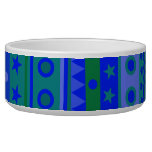 Blue and Green Stripy Stars and Spots Pattern Dog Food Bowl