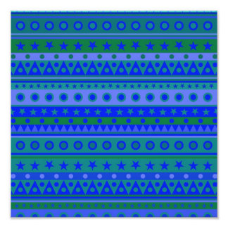 Blue and Green Stripy Stars and Spots Pattern Photo Print