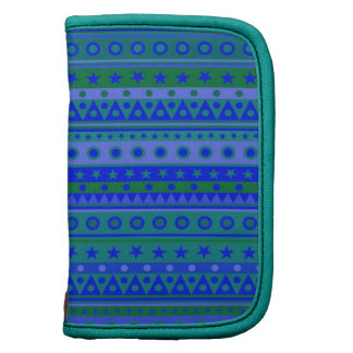 Blue and Green Stripy Stars and Spots Pattern Organizer