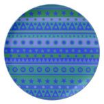 Blue and Green Stripy Stars and Spots Pattern Plate