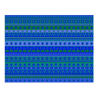 Blue and Green Stripy Stars and Spots Pattern Postcard