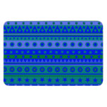 Blue and Green Stripy Stars and Spots Pattern Magnet
