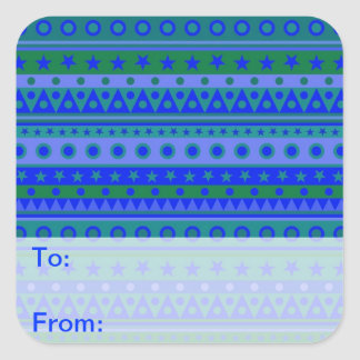 Blue and Green Stripy Stars and Spots Pattern Square Sticker