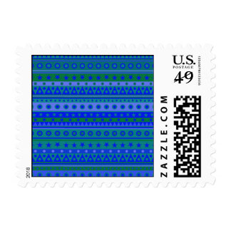 Blue and Green Stripy Stars and Spots Pattern Stamp