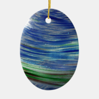 Blue and Green Swirls in the Round Double-Sided Oval Ceramic Christmas Ornament