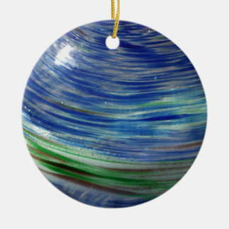 Blue and Green Swirls in the Round Double-Sided Ceramic Round Christmas Ornament