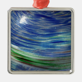 Blue and Green Swirls in the Round Square Metal Christmas Ornament