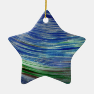 Blue and Green Swirls in the Round Double-Sided Star Ceramic Christmas Ornament