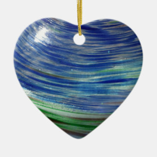 Blue and Green Swirls in the Round Double-Sided Heart Ceramic Christmas Ornament