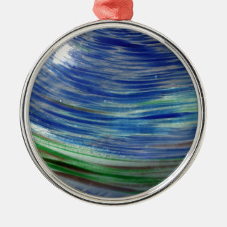 Blue and Green Swirls in the Round Round Metal Christmas Ornament