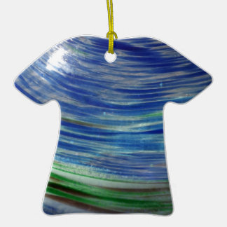 Blue and Green Swirls in the Round Double-Sided T-Shirt Ceramic Christmas Ornament