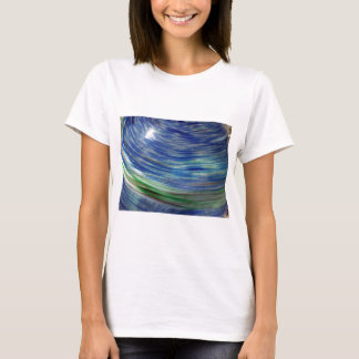 Blue and Green Swirls in the Round T-Shirt