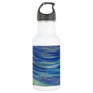 Blue and Green Swirls in the Round Water Bottle
